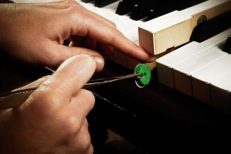 grüner Vorderdruckfilz, Hand mit Pinzette an den Tasten